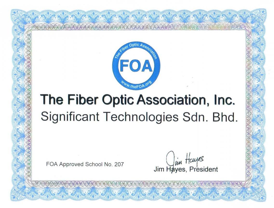 Awarded FOA Certificate